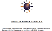 Simulator approval certificate from the Association of the Marine Electronic and Radio Colleges (AMERC)